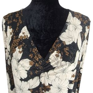 Claudia Richard Brown & Cream Floral Print Blouse